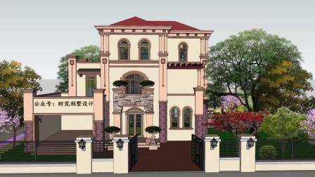 12x12米带车库大露台的三层欧式别墅, 美观大方, 适合农村自建