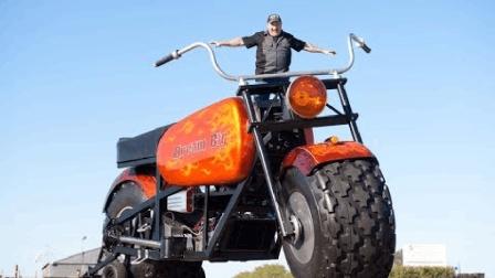 世界上最大的摩托车, 比姚明都高, 上路没车敢靠近!