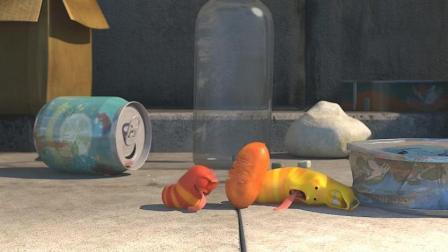 爆笑虫子动漫短片: 小黄吃面包竟然灵魂出窍, 附身面包被同伴争抢!