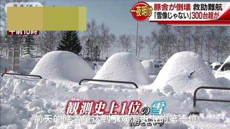 日本北海道遭遇强暴风雪天气, 大风大雪汽车被埋!