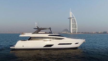 法拉帝游艇780闪耀2018迪拜国际游艇展。