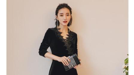 2018新款女装春装黑色长裙子潮春季长袖气质中长款金丝绒连衣裙女