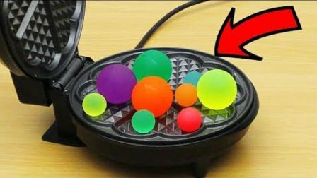 把弹力球扔到烙饼机里, 会发生什么事?