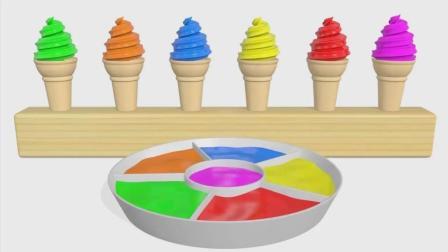 亮亮玩具冰激凌学习颜色, 汽车动画学英语, 婴幼儿宝宝教育游戏视频