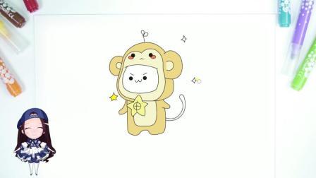 凯丽姐姐简笔画: 长颜草团子生肖系列——猴