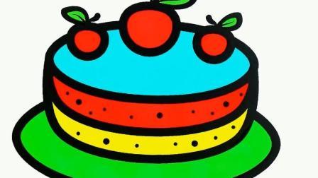 简笔画教学画彩虹蛋糕