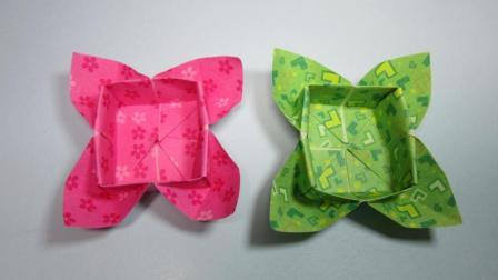 手工折纸收纳盒, 简单的花瓣盒子手工制作教程