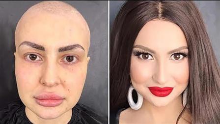这化妆技术太神啦! 光头大姐化妆后变女神啊!
