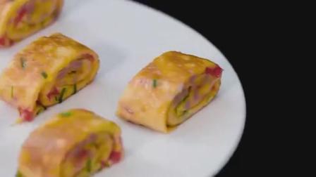 鸡蛋卷火腿这么简单, 还能这么玩, 简单又美味, 孩子早餐不二之选