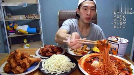 韩国大胃王奔驰小哥吃炸鸡和拌饭, 再吃泡面和薯条