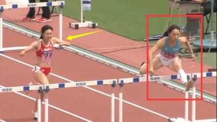 日本女子100米栏, 她出色的栏间节奏直接带乱对手, 对手差点就摔倒了