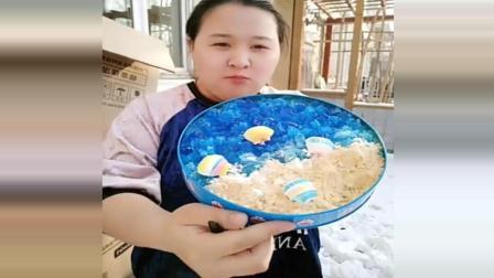 美食达人做海洋慕斯蛋糕, 特别漂亮