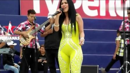 国外歌手现场演出, 黄色紧身衣很好看