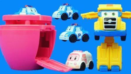 变形警车珀利鸡蛋玩具, 粉红猪小妹亲子玩具