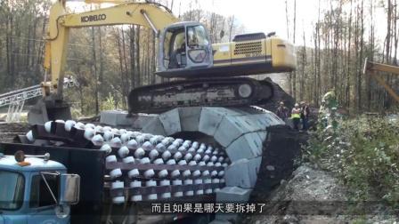 建隧像拉链,这车一开过,拱门自动建好,10分钟建3米