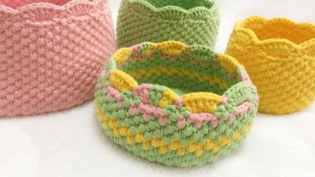 小清新布条线毛线收纳筐的钩织方法