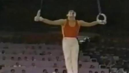 84年李宁洛杉矶奥运的经典吊环成套! 6秒的倒十字惊艳众人