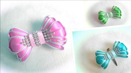 """手工DIY, 用丝带制作""""蝴蝶结发夹""""头饰的方法和技巧, 非常实用"""