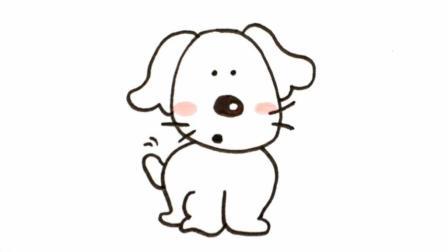 宝宝爱画画第142课 手绘如何画小狗小白, 呆萌卡通狗狗绘画教程, 超可爱小狗简笔画视频