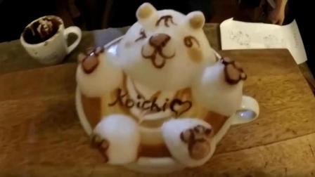 3D拉花欣赏, 在咖啡上用奶泡制作一只可爱的大胖熊, 都舍不得下口