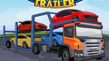 挖掘机与卡车工作视频 儿童工程车表演 汽车总动员动画片 运输汽车的大卡车2