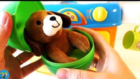 彩蛋里皮蛋屁发现精美玩具, 海绵蛋糕, 可爱的小狗, 各种玩具