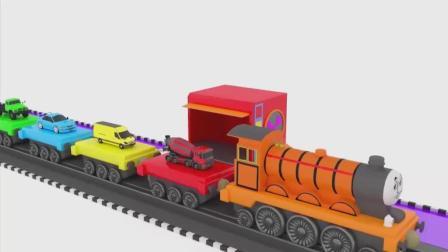 亮亮玩具托马斯火车学习颜色, 汽车动画学英语, 婴幼儿宝宝教育游戏视频838