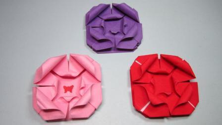 儿童手工折纸玫瑰花, 简单不一样的玫瑰花折法教程