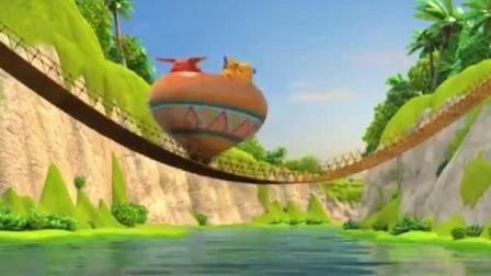 超级飞侠4: 多多和小爱完美造出美丽的吊桥和超大的陀螺、