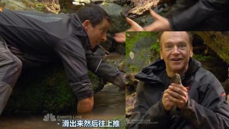 贝爷徒手在石头下摸出一条大鳟鱼, 男子都看呆了!