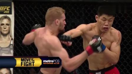UFC李景亮挨多计重拳, 屹立不倒, 场面激烈, 一击重拳KO对手