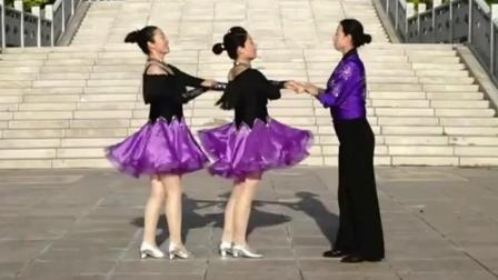 舞韵交谊舞《美丽的姑娘》三人一拖二, 看了还想看
