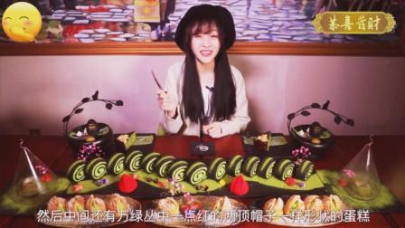 大胃王mini吃一桌抹茶甜品, 全是绿色的, 这胃受得了吗