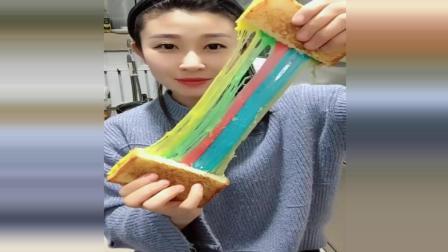 美食达人做彩虹拉丝吐司, 太漂亮了
