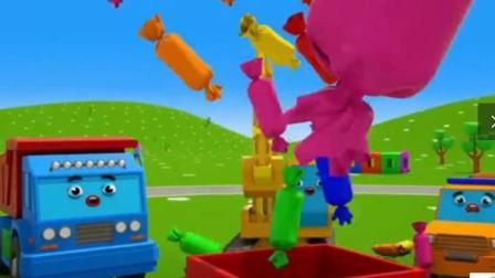 幼儿益智动漫卡通: 小汽车玩游戏收到漂亮礼物, 挖掘机做彩色冰淇淋