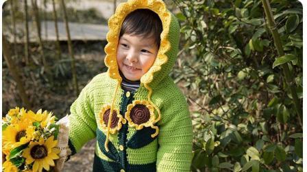 【金贝贝手工坊 193辑】M60向日葵外套(中集) 毛线钩针编织儿童毛衣上衣 DIY宝宝毛衣外套