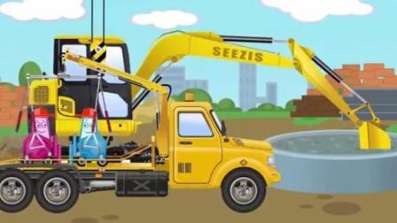 儿童工程车动漫 赛车滚到香蕉皮滑倒四脚朝天 挖掘机被水泥粘住 拖车修理工紧急营救