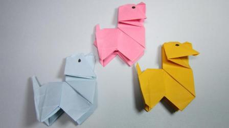 用一张纸就能折一条可爱简单的小狗, 狗年折纸小狗, DIY手工制作
