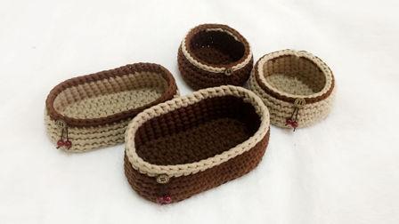 【小脚丫】椭圆收纳筐毛线收纳筐的钩法一起学织毛线教程布条线毛线收纳筐编织方法图