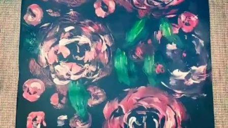 【创意手工美术】用废弃的盘子画出漫山遍野山茶花