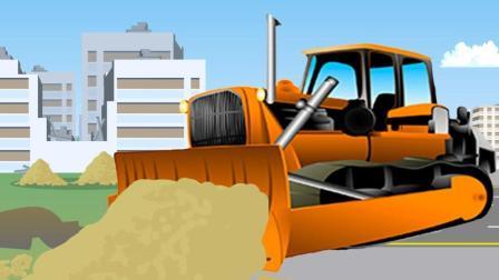 推土机帮助卡车摘圆白菜