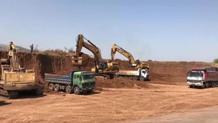 卡特365C挖掘机土方装车作业, 三两下装满一车, 这效率没的说
