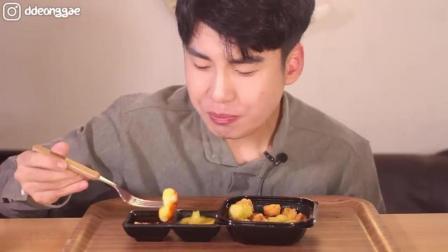 韩国吃播豪放派大胃王donkey哥哥ASMR吃一份菠萝咕噜肉, 太幸福了
