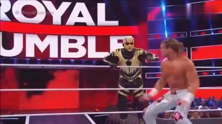 WWE罗曼大帝一拳一个竟然连续击倒10人, 对手纷纷被他扔下擂台