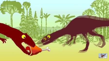 恐龙动漫特效: 幼龙肉腿被抢, 长辈为它出头