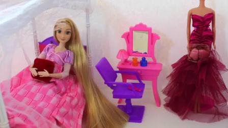 芭比娃娃粉色卧室公主晚礼服梦幻房间