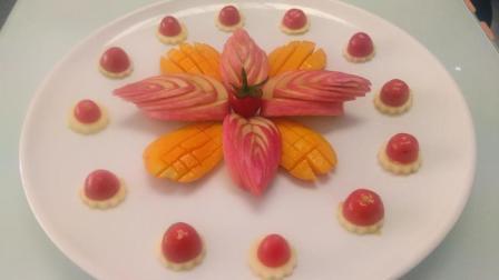 大厨教你用苹果 芒果 圣女果做颜值爆表的水果拼盘美食, 关键是简单好学