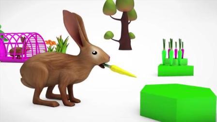 宝宝趣味游戏   卡通玩具小兔子吃萝卜   认知颜色