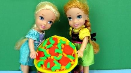 披萨之夜!埃尔莎和安娜蹒跚学步的孩子做比萨饼
