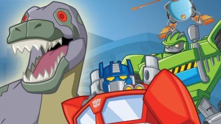 《新救援汽车人冲刺 超级汽车变身恐龙》儿童游戏 糯米解说